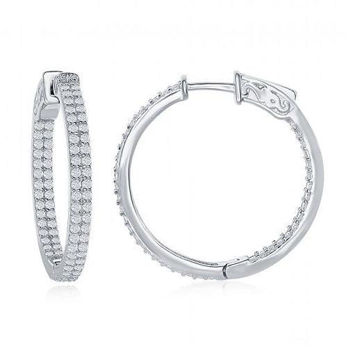 Silver Small Inside-Outside Double Row Hoop Earrings TCE-D-4637