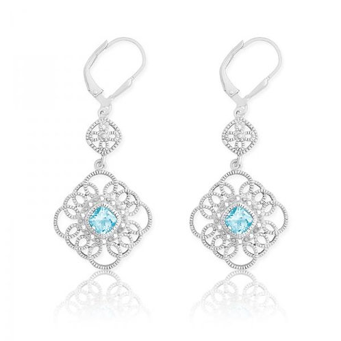 DIA. WITH CENTER BLUE STONE SQUARE EAR. D-5110