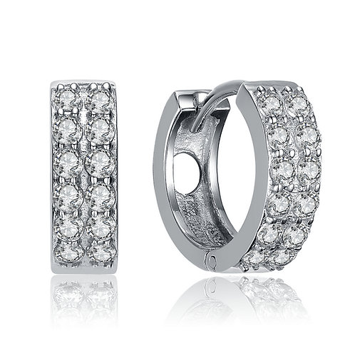 Sterling Double Row Huggie style Earrings TCE-EAR8744