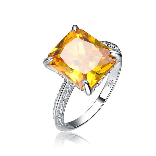 Sterling Silver with Rhodium Plated Yellow Radiant Cut Ring CL-R1049