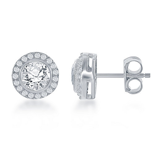Sterling Silver Round Halo Stud Earrings CL-D-6331