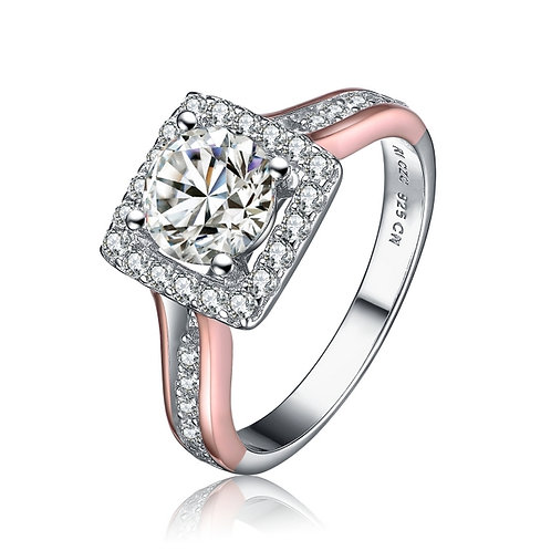 Gorgeous Halo Style Ring with Rose Gold Toned Shank TCR- R1149