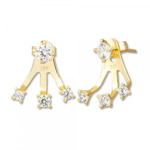 3 Stone Yellow toned Peek-A-Boo Earrings CSE-D-5394