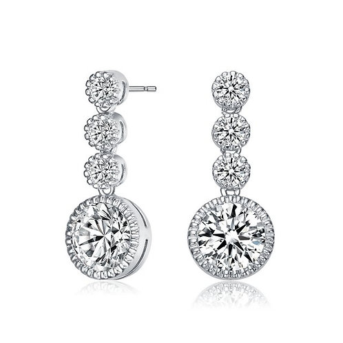 Sterling Silver with Rhodium Plated 3 Drop Halo Style earrings TE-EAR5511