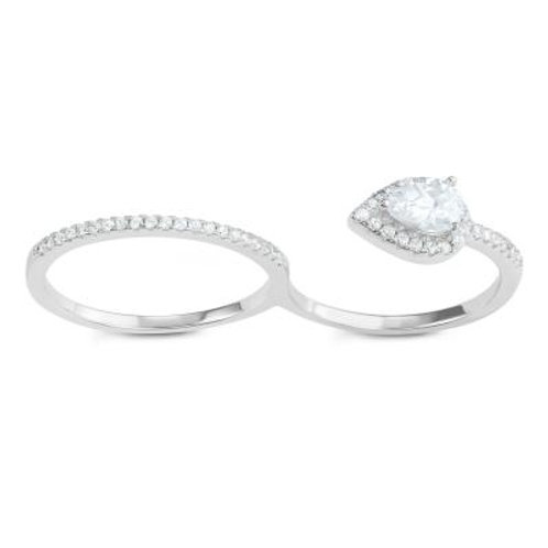 Sterling Silver Teardrop Stone Double Finger Ring CSR-W-1608