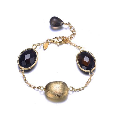 Brushed Gold Tone Bracelet with Smokey Topaz Stones GB1409-SQ