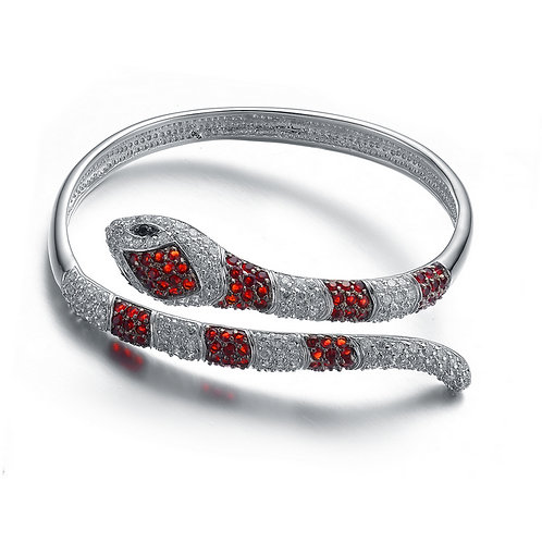 Sterling Silver Man-Made Ruby Stone Serpent Bangle CSB-BR1707-R