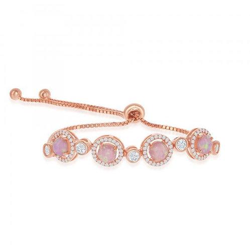 Sterling Silver RG Pink Opal Bolo Bracelet CSB-T-7560