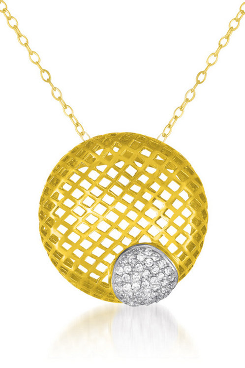 Sterling Silver Gold Overlay Basket Net Style Necklace CSN-PEN8017-GP
