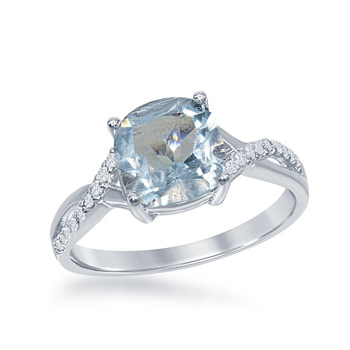 Sterling Silver Small Square Blue Topaz with White Topaz on Side Ring TCR-W-1677