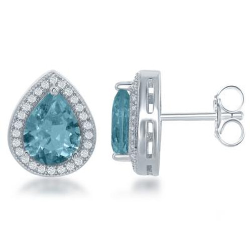 Sterling Silver Teardrop Simulated Blue Topaz with Border Earrings TCE-D-6312