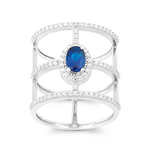 BLUE OVAL CZ RING W-9957