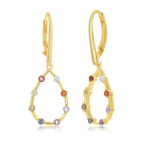 Sterling Silver GP Rainbow Open Tear Drop-Shaped Dangle Earrings CL-D-7231
