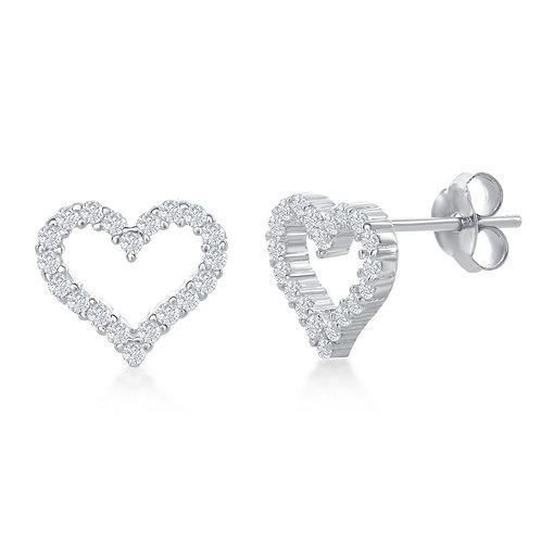 Sterling Silver Open Heart Stud Earrings CL-D-6912