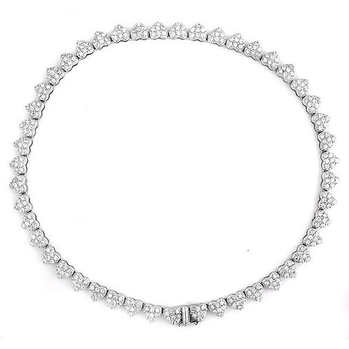 C.Z. Sterling Silver Rhodium Plated Heart Necklace NEC1315