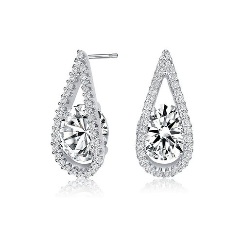 Sterling Silver with Rhodium Plated Clear Round Halo Earrings TCSE-EAR3266