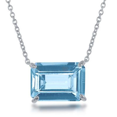 Sterling Silver Emerald Cut Blue Topaz Prong Set Necklace TCN-M-5071