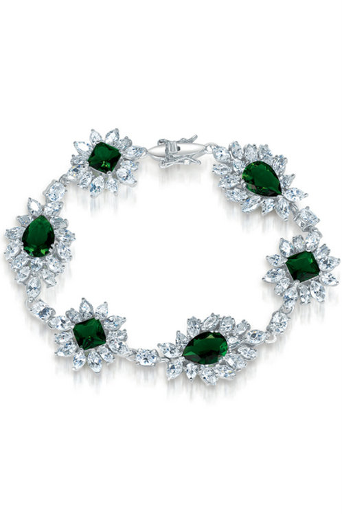 Sterling Silver Simulated Emerald Color Bracelet TB-BR369-E
