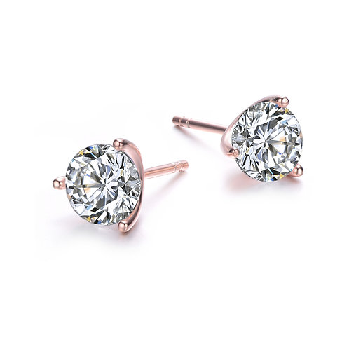 1.5ctw Rose Gold Martini Style 3 Prong Stud Earrings TCE-EAR600-7MM