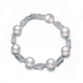 C.Z. Sterling Silver Rhodium Plated White Fresh Water Pearl Bracelet BR5625