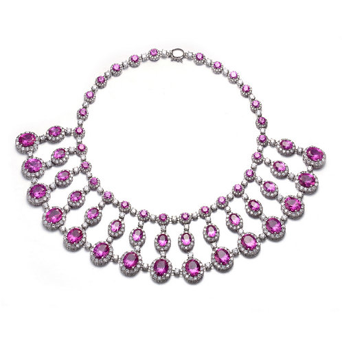 CZ And Ruby Necklace MK02-R
