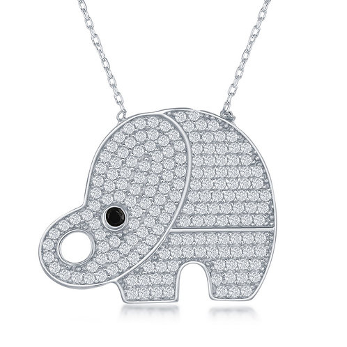 Sterling Silver Large Elephant Pave` Set Stone Necklace CSR-M-5656