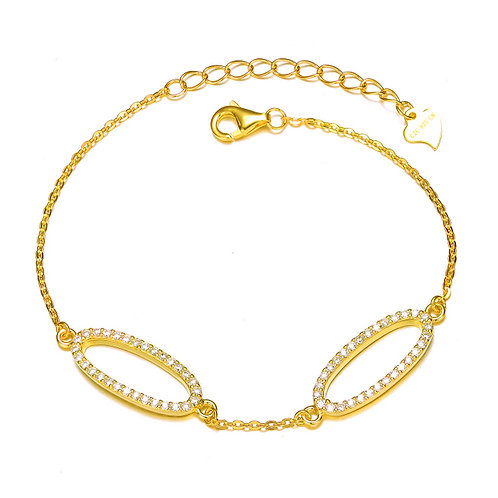 Gold Overlay Fancy Double Oval Bangle CL-BR4836-GP