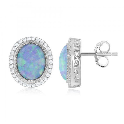 Sterling Oval Opal Halo Style Earrings TCSE-D-6558