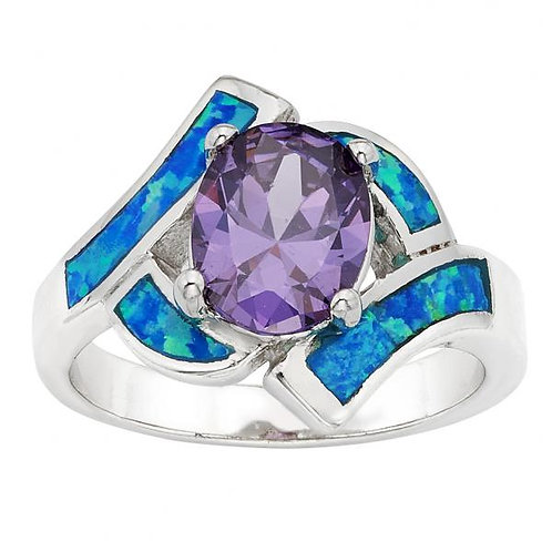 Sterling Silver Opal w/Oval Purple CZ Center Ring W-9594