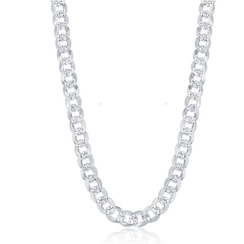 Sterling Silver 7.3mm Flat Pave Cuban Chain CL-Q-5573