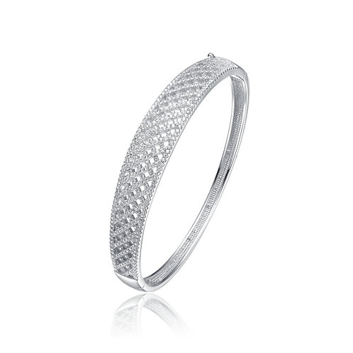 Sterling Silver Pave Braided Style Bangle TCB-BR5289