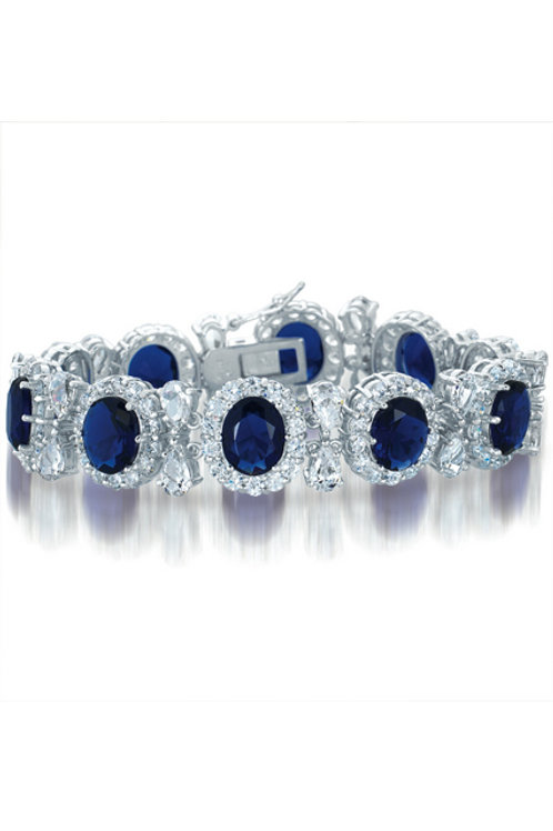 Oval Sapphire Stone Tennis Bracelet TB-BR612-S