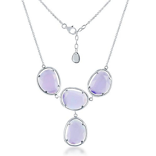 STERLING SILVER VIOLET CAT EYE NECKLACE M-5299