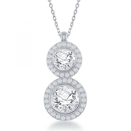 STERLING SILVER DOUBLE ROUND CZ NECKLACE M-5471