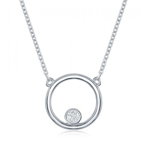 Sterling Silver Open Circle with Bezel-Set Stone Necklace TCSN-M-5844