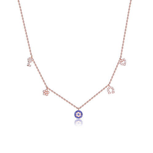 Sterling Silver Rose Toned Charm Necklace CSN-NEC1188-ROSE