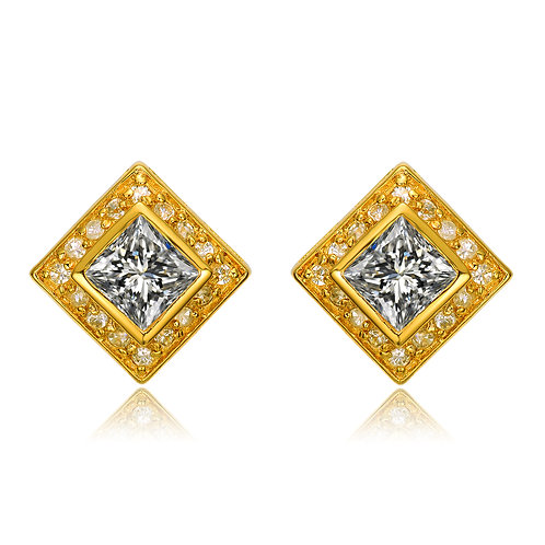 Sterling Silver Gold Plated Halo Style Earrings TCE-EAR2215-GP