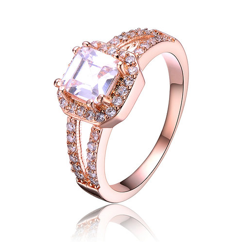 Rose Gold Overlay Pink Emerald Cut Cubic Zirconia Ring R2160-ROSE