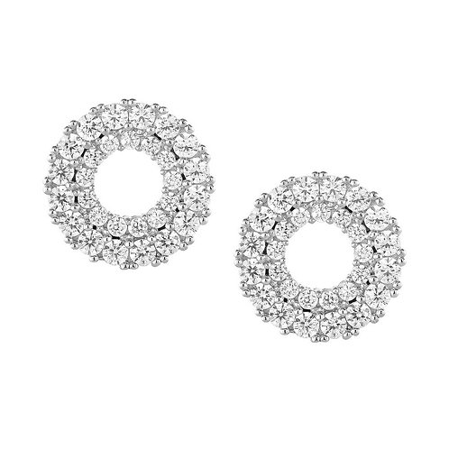 Sterling Silver Open Circle Micro Pave Stud Earrings CL-D-5403