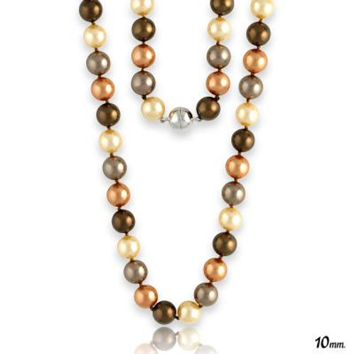 """18"""" 10mm Multi-Colored Shell Pearls w/ Magnet Lock Necklace TCN-M-3933"""