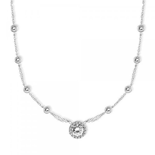 CZ NECKLACE Round Stone Halo Set M-4191