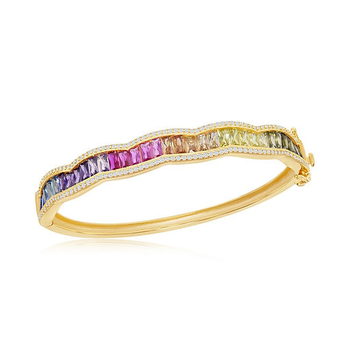 Sterling Silver Gold Plated Baguette Rainbow Bangle CSB-CSB-U-6648