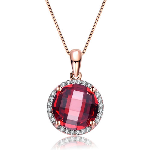 Round Cushion Cut Garnet Stone Pend. CSN-PEN1688-G-ROSE