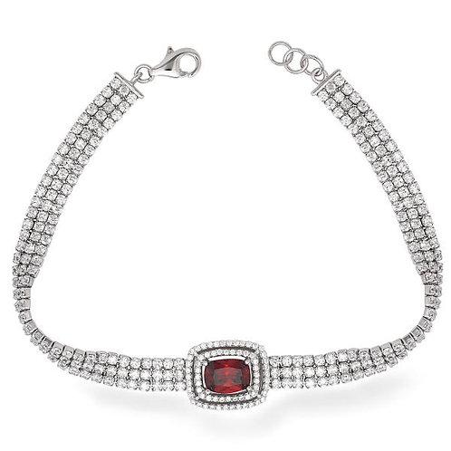 3 Row double Halo Ruby stone Bracelet TCSB-T-7239