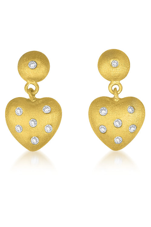 Gold Matt Finish Heart Shape Drop Earrings CSE-EAR3060