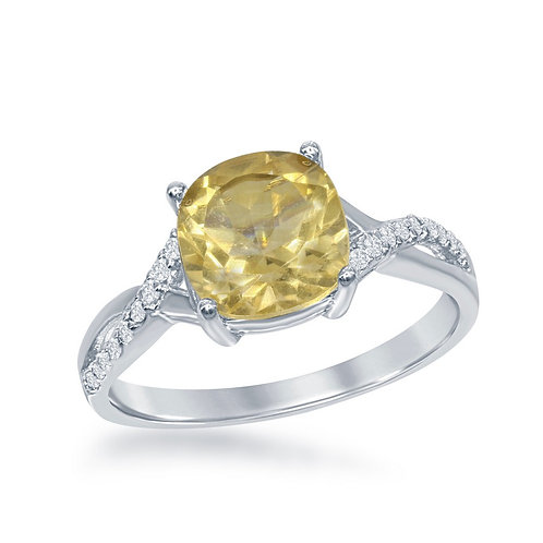 Sterling Silver Small Square Citrine with White Topaz on Side Ring TCR-W-1679