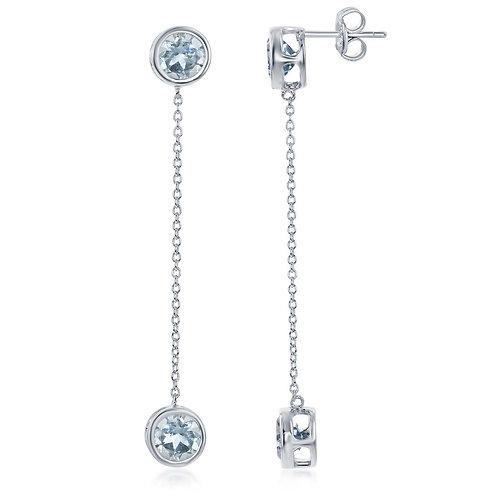 SS Bezel-Set Blue Topaz Hanging Chain Earrings CL-D-6884