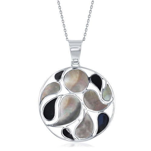 Sterling Silver Large Round Designed Abalone and Onyx Pendant CSN-K-7698