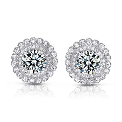 Double Millgrain Halo Round Stud Earring TCE-EAR9104