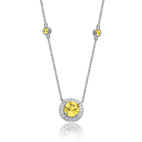 Sterling Silver Canary Style stone Halo Necklace TCN-NEC3145-Y